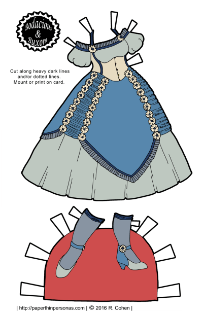 A Victorian corset ball gown for the Bodacious and Buxom curvy paper doll series from paperthinpersonas. Free to print in color or black and white.