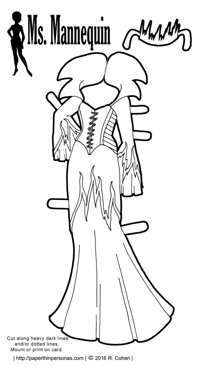 An evil sorceress gown to color for my printable paper dolls designed to fit the Ms. Mannequin paper doll series. Free to print in color or black and white.