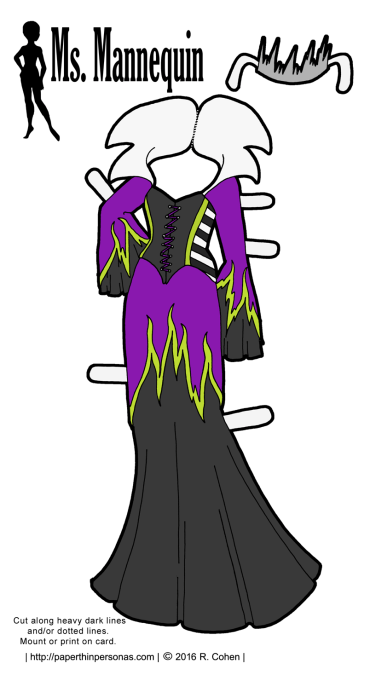A purple, green and black evil sorceress gown for my printable paper dolls designed to fit the Ms. Mannequin paper doll series. Free to print in color or black and white.