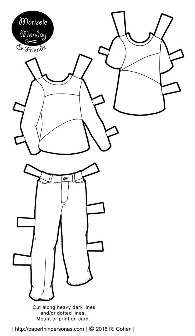 A pair of paper doll t-shirts and a pair of jeans for the boy printable paper dolls. Available in black and white or in color. Free to print from paperthinpersonas.com.