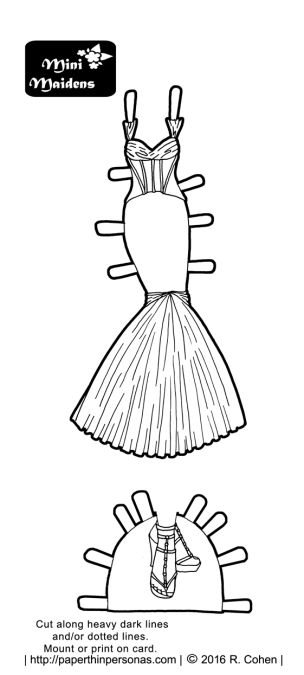 A New Years evening dress based on a design by Zac Posen. It could also be a wedding dress. Free to print and color from paperthinpersonas.com
