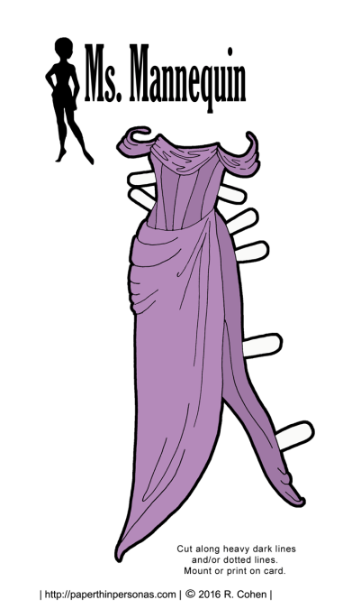 A printable paper doll couture gown for the Ms. Mannequin paper doll series from paperthinpersonas.com. This gown in lavender and has a heavily boned bodice. Free to print in color or black and white.