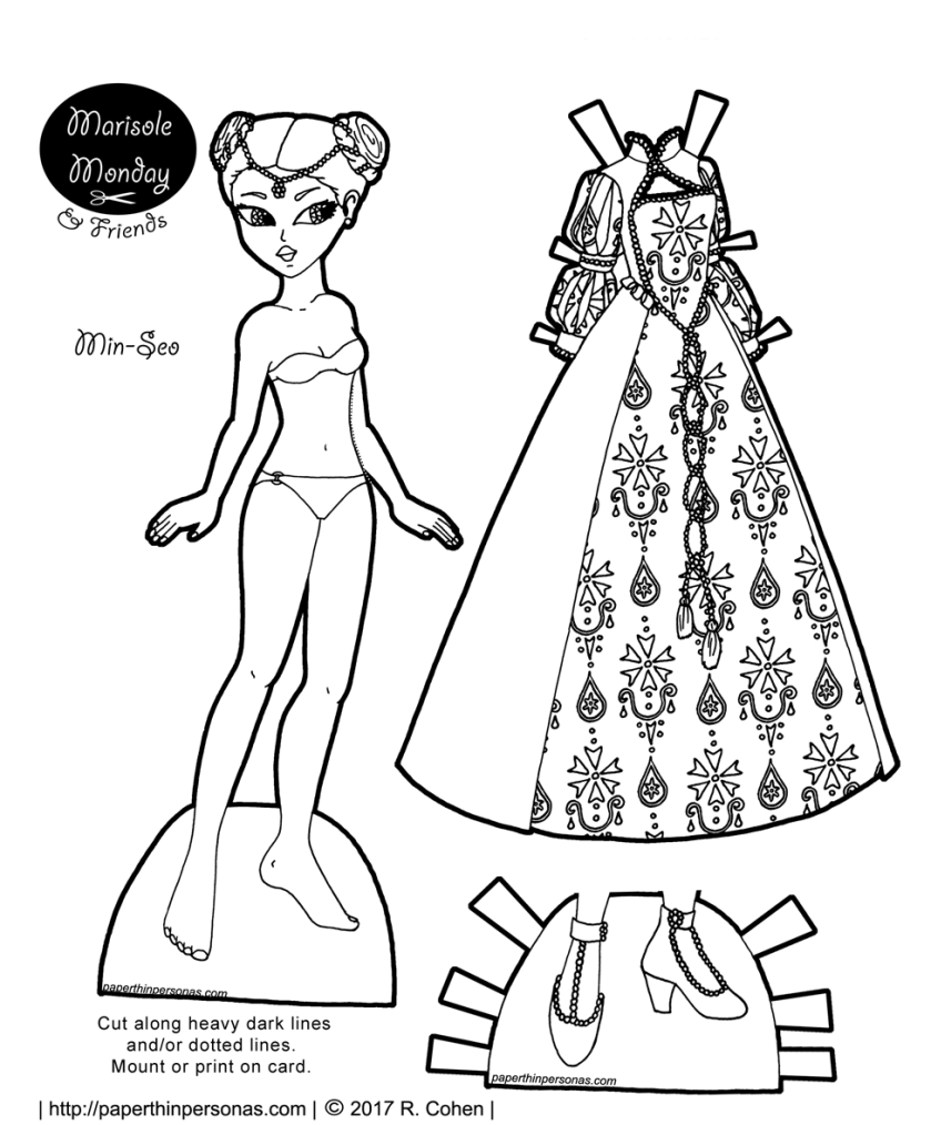 A Tudor fantasy gown and a paper doll to wear it. A paper doll coloring page from paperthinpersonas.com