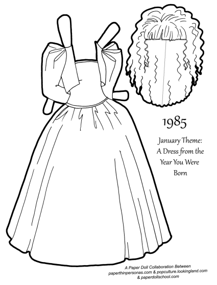 A paper doll coloring page with a dress from 1985, complete with a wig. Inspired by Barbie dresses designed by Oscar De La Renta. Free to print.