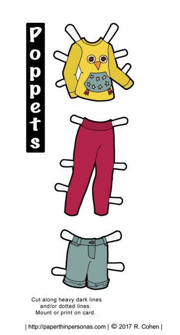 A printable contemporary kids outfit for a my Poppet's printable paper doll series. Available in color or black and white.