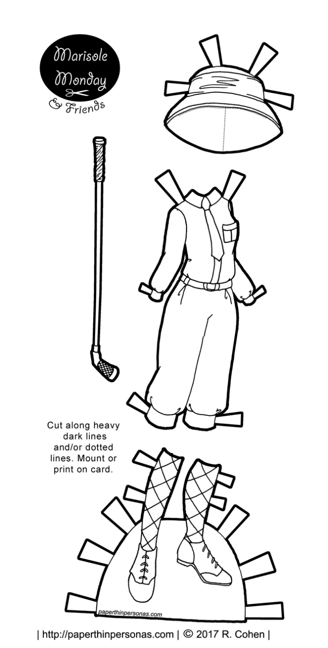 Women's 1920s golf clothes for my Marisole Monday & Friend's paper doll series in black and white.