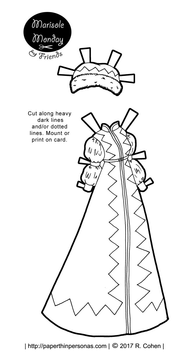 A fantasy winter walking costume for a paper doll based on pelisse of the 1820s from paperthinpersonas.com in black and white for coloring.