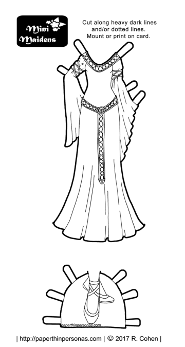 A Lord of the Rings dress for the mini-maiden paper doll coloring sets in black and white. Free to print from paperthinpersonas.com