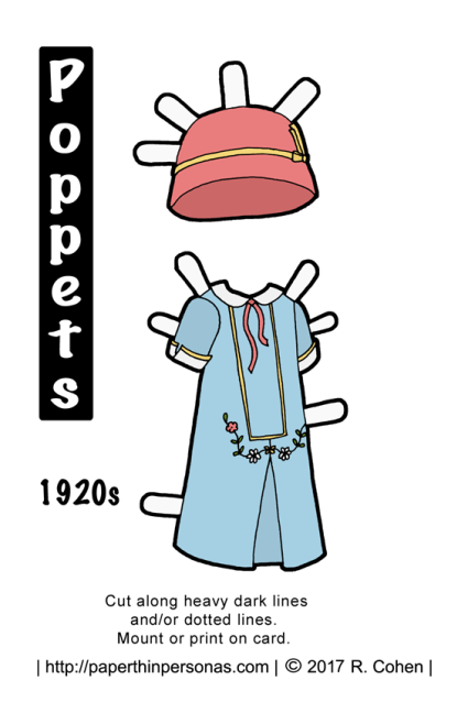 A 1920s inspired paper doll dress for the Poppet printable paper doll series. Free printable in black and white or color from paperthinpersonas.com.