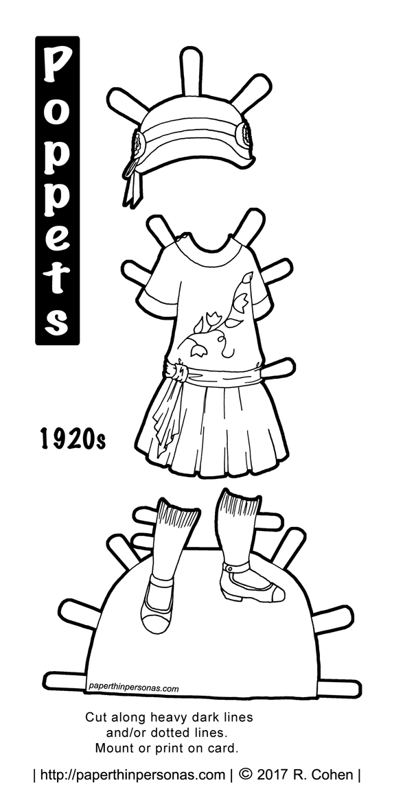 clothes archives page 2 of 6 paper thin personas 1960s Entertainment a 1920s child s dress with a matching hat and shoes for the printable paper doll from