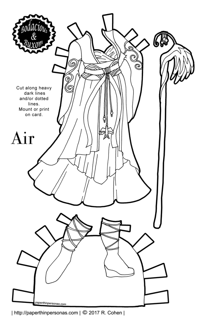 A paper doll fantasy gown inspired by the element Air for coloring and printing.