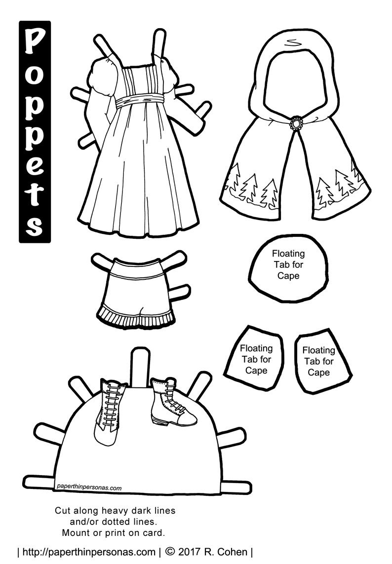 A Little Red Riding Hood paper doll costume to print, color, and play with. One of dozens of fairy tale paper doll designs from paperthinpersonas.com.