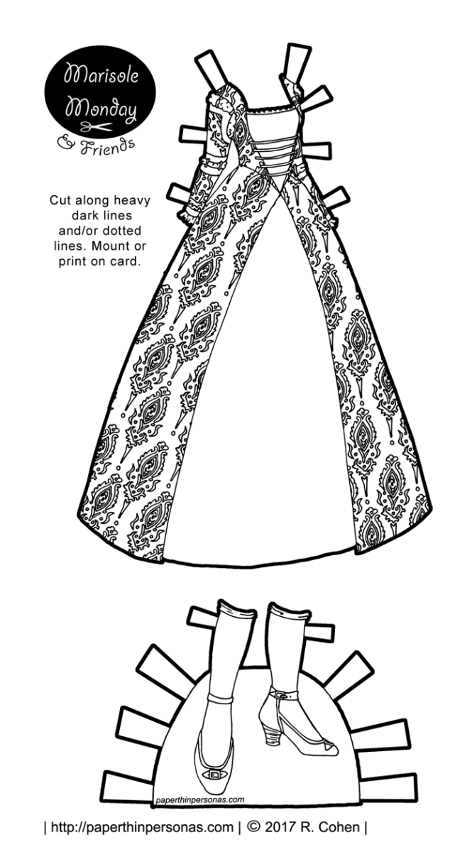 A printable paper doll fantasy gown inspired by the dress of the European Renaissance for the Marisole Monday & Friends paper doll series. Free to print from paperthinpersonas.com.