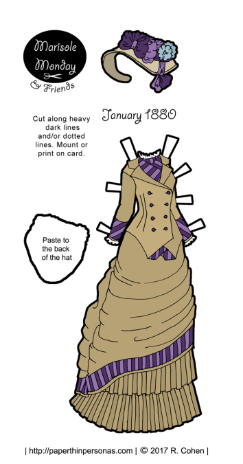 An 1880s bustle dress for a printable paper doll from paperthinpersonas.com.