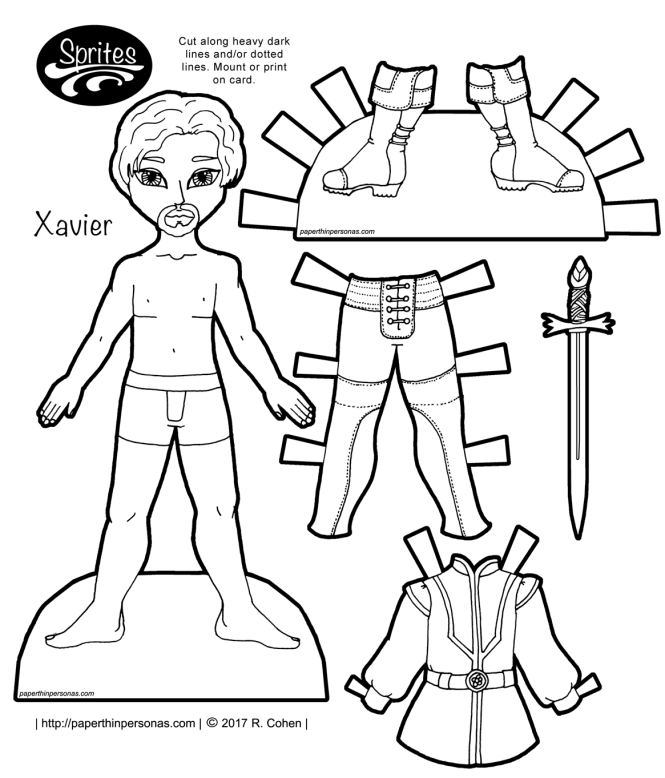 A fantasy paper doll guy with leggings, boots, a tunic and a stylish goatee. Free to print from paperthinpersonas.com in color or black and white.