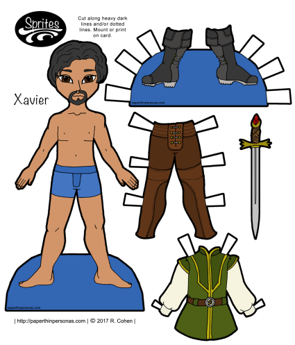 A fantasy paper doll guy with leggings, boots, a tunic and a stylish goatee. Free to print from paperthinpersonas.com.