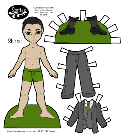 An Asian guy printable paper doll with a dashing three piece grey suit. Free to print from paperthinpersonas.com.