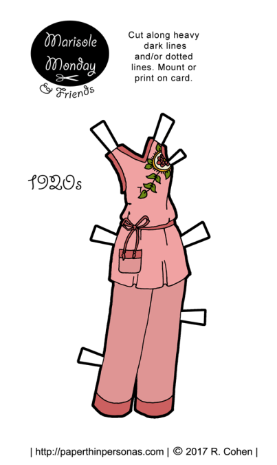 A pair of 1920s paper doll pajamas for the Marisole Monday and Friend's paper doll series. The pajamas are based on a design from the 1920s and are pink trimmed in dark pink.