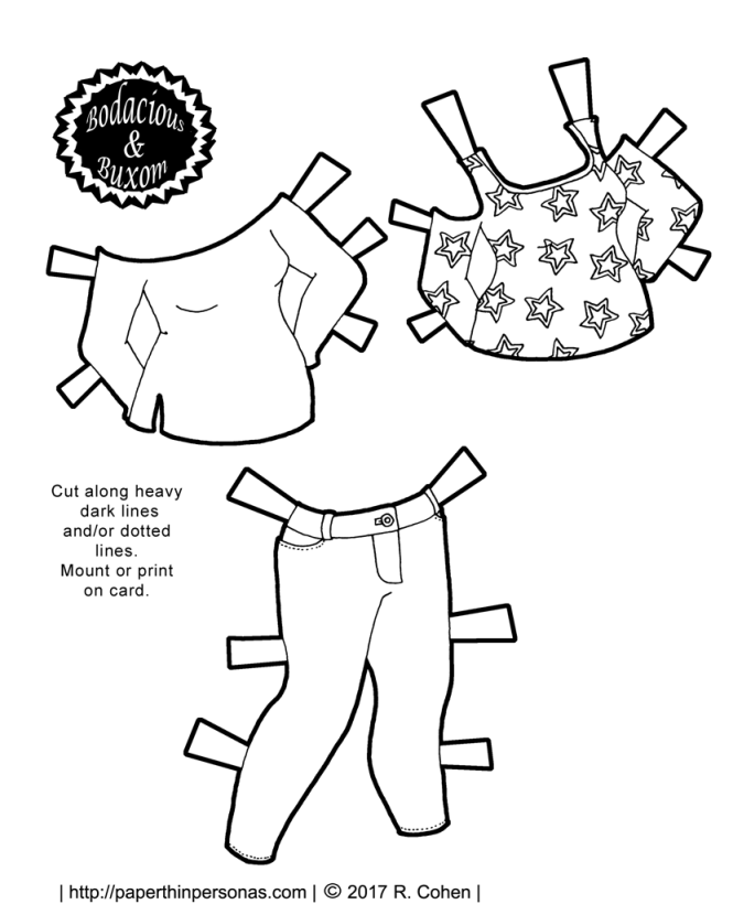 A paper doll Princess Lolita outfit with thigh high socks from paperthinpersonas.com. Available in color or black and white for coloring.