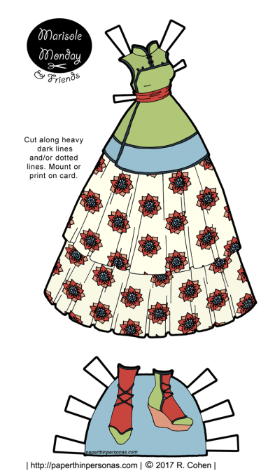 A fantasy paper doll dress based on traditional Chinese clothing and inspired by Qi Lolita. Free to print in color or black and white from paperthinpersonas.com.