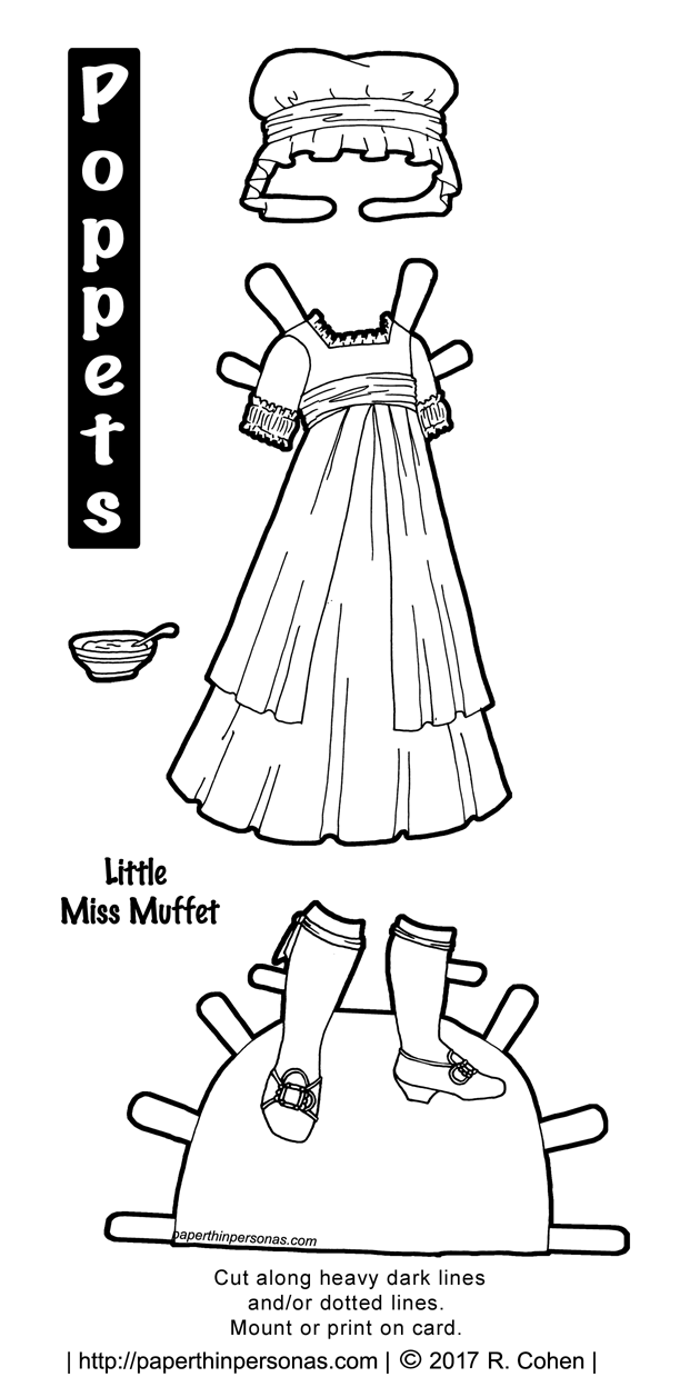 An late 18th century inspired Little Miss Muffet costume to color and play with for the Poppet's printable paper doll series from paperthinpersonas.com.