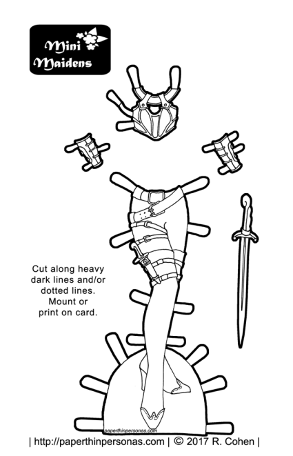 A paper doll fantasy armor coloring page with wrist guards and a sword, boots and a knife. The outfit is designed to fit the Mini-Maiden's printable paper doll series.