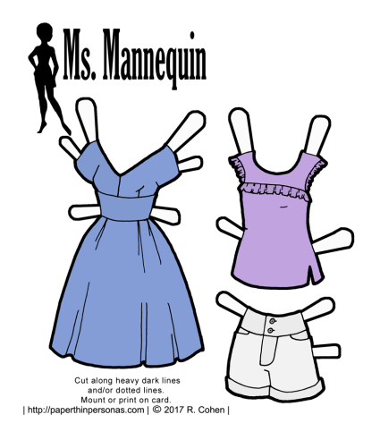 Summer paper doll clothes from paperthinpersonas.com. A dress, tank and a pair of shorts.