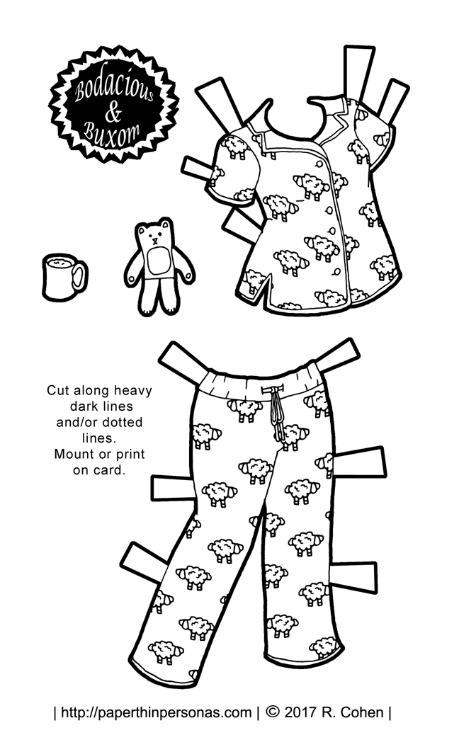 full color archives page 13 of 55 paper thin personas Disco Jeans a pair of paper doll pajama s with sheep on them plus a teddy bear and
