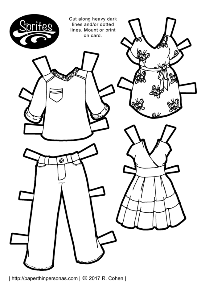 Contemporary paper doll clothing set which includes a pair of pants and shirt for a boy paper doll and two dresses for a girl paper doll. The clothing can be worn by any of the Sprites paper doll series.