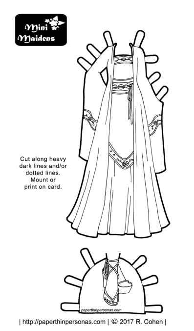 A fantasy paper doll gown influenced by hanfu and the Tang Dynasty in China. A paper doll dress to print and color.