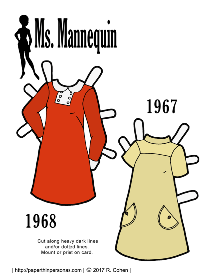 A pair of 1960s vintage paper doll dresses based on sewing pattern covers from 1968 and 1967.