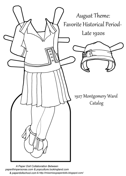 A coloring page of a 1920s dress for a paper doll, based on Montgomery Ward catalog designs from 1927. The dress has a matching hat. Great for homeschooling history classes from paperthinpersonas.com.