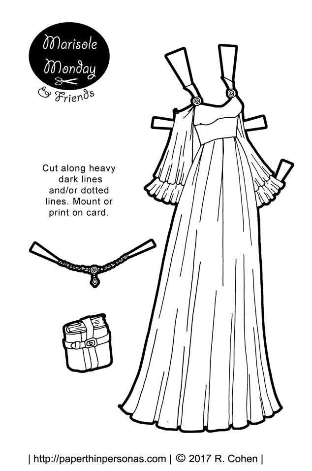 A fantasy gown with full flared sleeves, a high waist and flowing skirt. To go with the gown, there is a crown and a book. Free to print from paperthinpersonas.com.