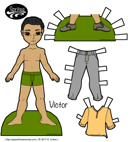 Víctor, a Latino printable paper doll, and a set of contemporary clothing in color.