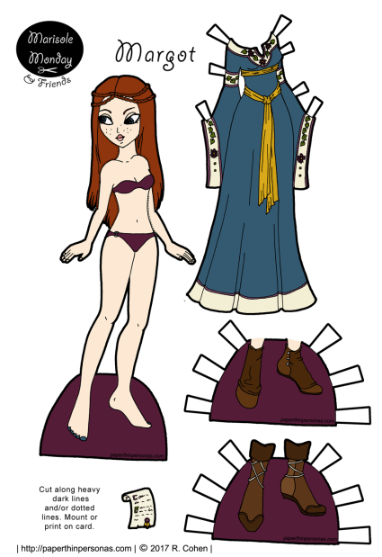 A printable paper doll of a medieval princess with a gown and two pairs of shoes. Part of the Marisole Monday & Friend's collection of printable paper dolls from paperthinpersonas.com.