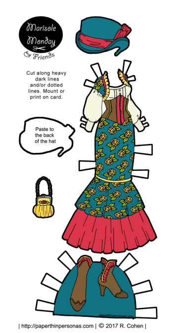 A steampunk Marisole Monday & Friend's printable paper doll outfit in bright colors to play with from paperthinpersonas.com.