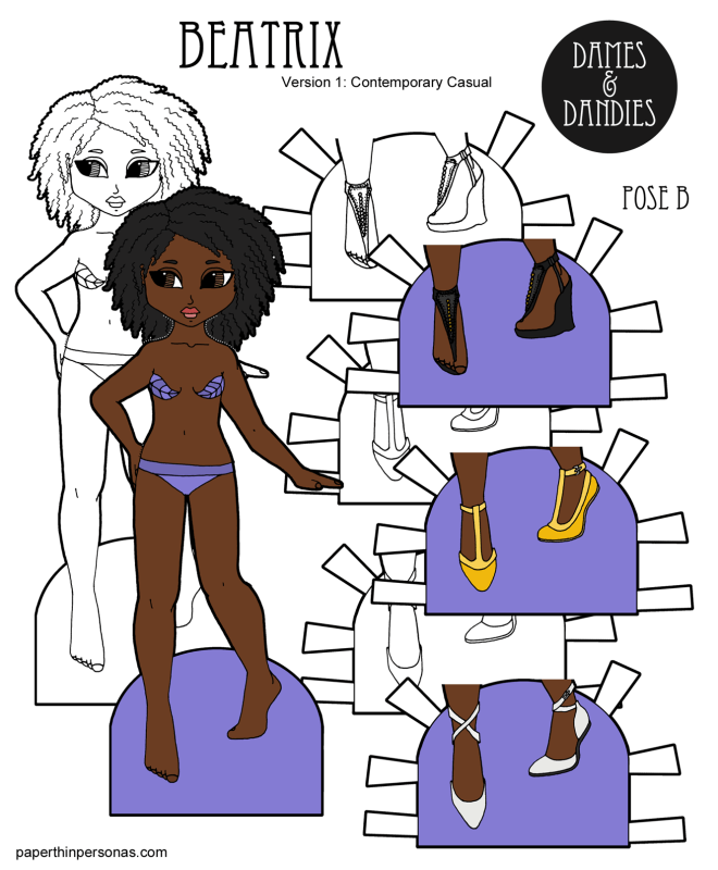 A black paper doll with curly natural hair to print in color or black and white for coloring from paperthinpersonas.com. She comes with three pairs of shoes.