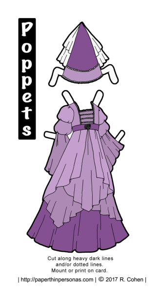A purple princess paper doll dress with matching headdress from paperthinpersonas.com.