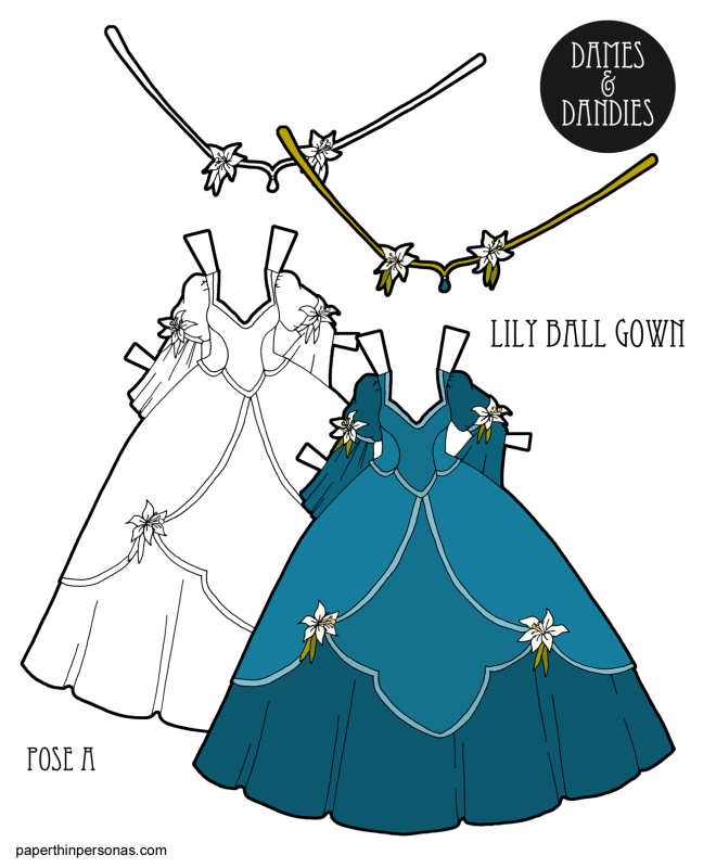 A paper doll princess dress inspired by lillies. The dress has a wide skirt and two layers over it. The skirt and crown are decorated with lillies.