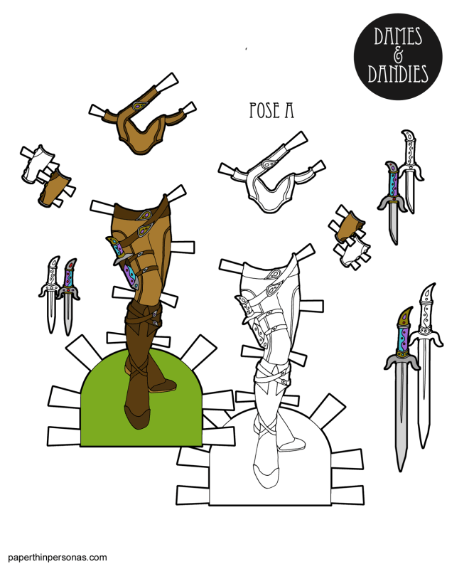 A set of fantasy armor of the paper dolls from paperthinpersonas.com, because sometimes paper dolls want to be fantasy warrior princesses.