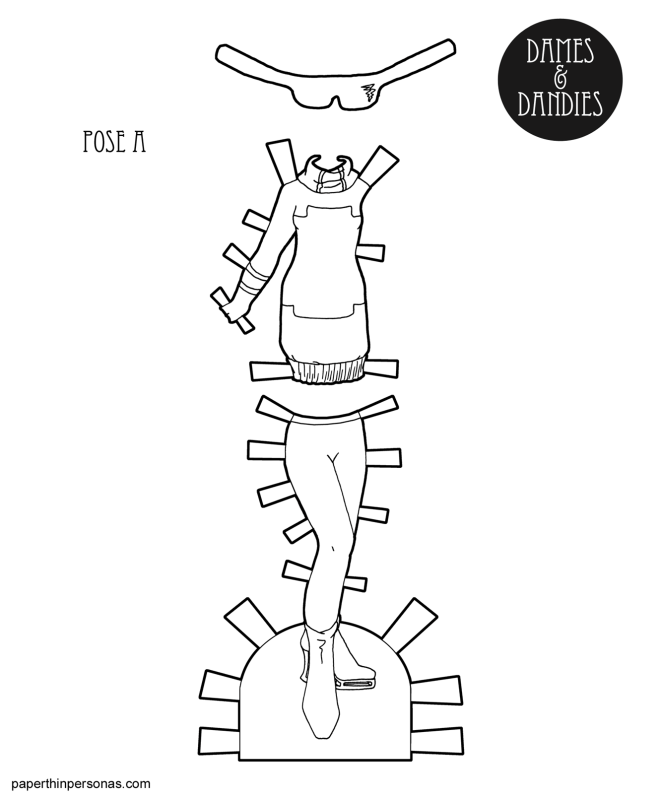 A printable paper doll clothing coloring page featuring a sci-fi inspired sweater dress, sunglasses, tights and boots.