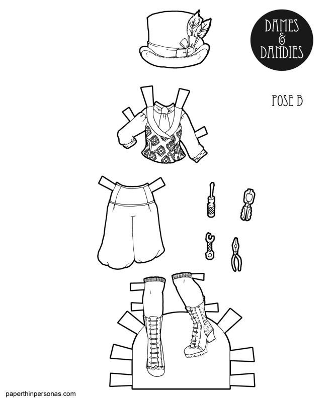 A steampunk coloring page featuring paper doll clothing for the B Pose paper dolls from paperthinpersonas.com.