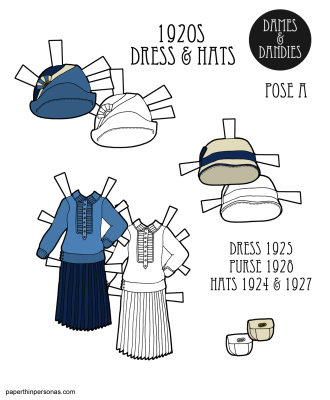 1920s paper doll dress and hats based on the catalogs of B. Altman and Company and Sears from paperthinpersonas.com. Available to print in color or in black and white.