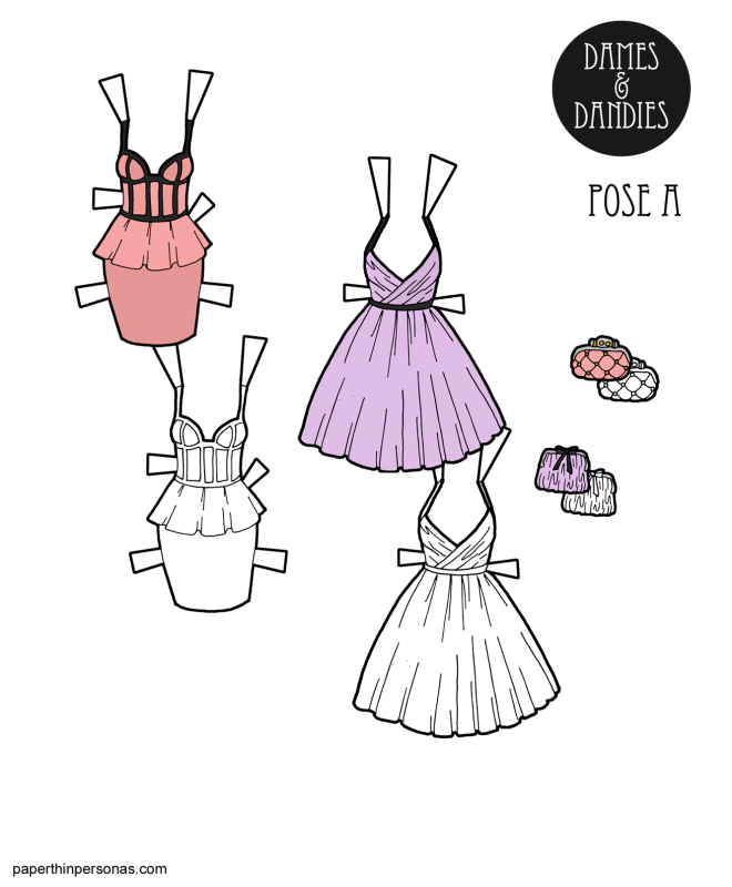 A pair of paper doll dresses for printing with matching purses. They can fit any of the A Pose paper dolls.