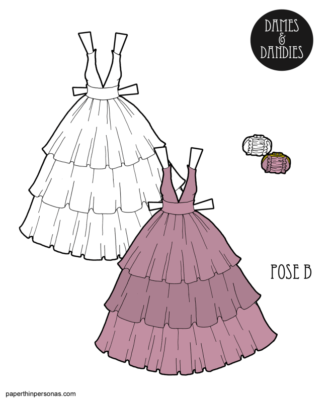 An evening gown for the B Pose paper dolls based on a design from the Marchesa Pre-Fall 2016 collection. The gown has a deep v neckline and a tiered skirt. There is a matching clutch.
