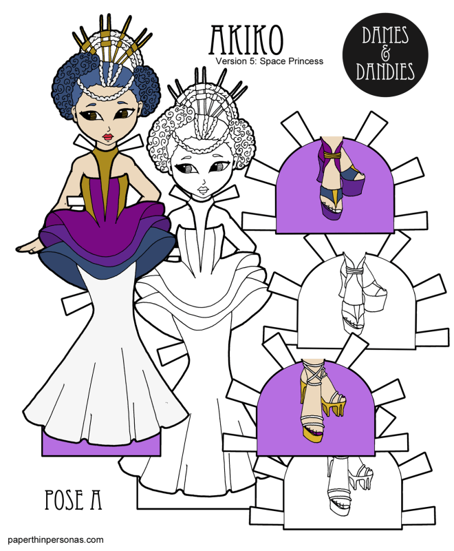A space princess paper doll featuring a sci-fi inspired gown and shoes. One of hundreds of paper doll designs from paperthinpersoas.com