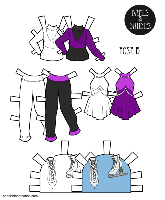 Ice skating paper doll clothing with a performance dress and practice outfit and, of course, ice skates. Available to print in color or black and white for coloring.