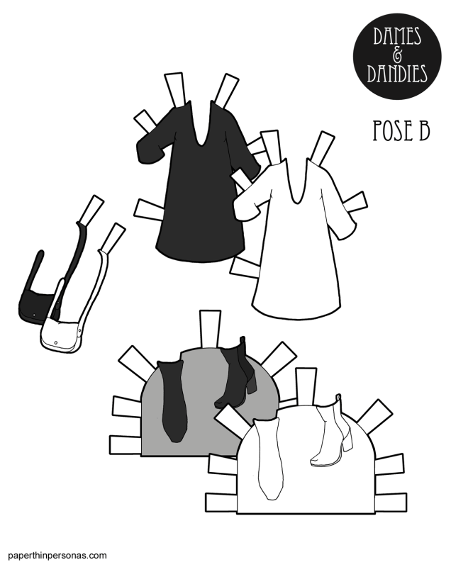 A minimalist dress paper doll outfit with boots and a bag.