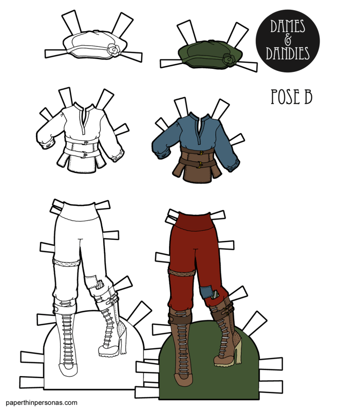 A steampunk paper doll costume for the B Pose paper dolls with pants, boots, hat and shirt. You can print it in color or print it as a coloring page. That's up to you!