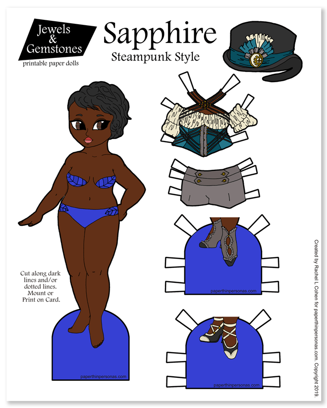 Today's black steampunk paper doll has her own fancy top hat and a great outfit, plus two pairs of shoes. You can print the paper doll in color or black and white, if you like to color.
